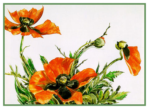 Orange Poppy Flowers Still Life by American Artist Charles Demuth Counted Cross Stitch or Counted Needlepoint Pattern