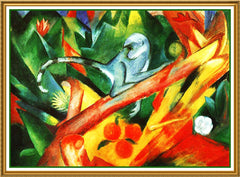 A Blue Monkey by Expressionist Artis Franz Marc Counted Cross Stitch  Pattern - Orenco Originals LLC