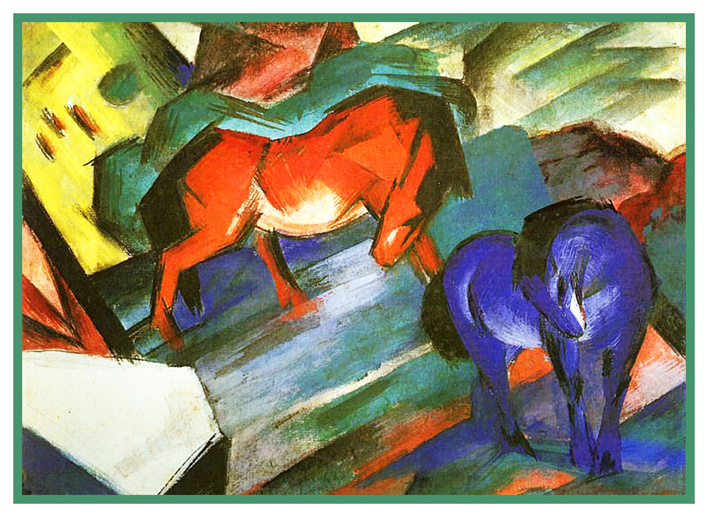 A Red and a Blue Horse by Expressionist Artis Franz Marc Counted Cross Stitch or Counted Needlepoint Pattern - Orenco Originals LLC