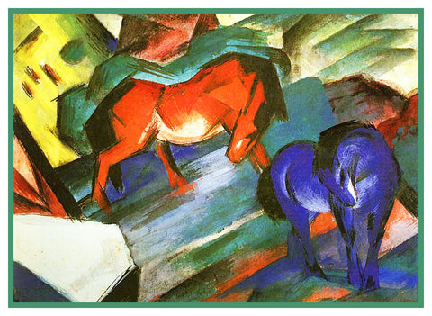 A Red and a Blue Horse by Expressionist Artis Franz Marc Counted Cross Stitch Pattern