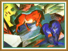 A Red and a Blue Horse by Expressionist Artis Franz Marc Counted Cross Stitch or Counted Needlepoint Pattern