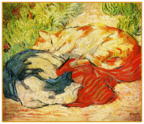 Two Cats Sleeping in the Sun by Expressionist Artis Franz Marc Counted Cross Stitch Pattern