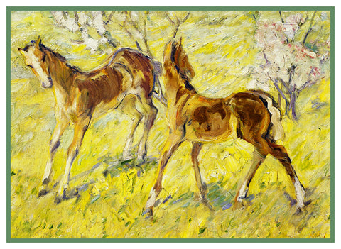 2 Horse Foals in Spring by Expressionist Artis Franz Marc Counted Cross Stitch Pattern