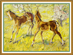 2 Horse Foals in Spring by Expressionist Artis Franz Marc Counted Cross Stitch or Counted Needlepoint Pattern - Orenco Originals LLC