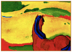 A Horse in the Landscape by Expressionist Artis Franz Marc Counted Cross Stitch or Counted Needlepoint Pattern