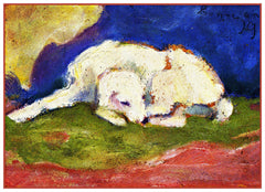 Russ The Dog Sleeping by Expressionist Artis Franz Marc Counted Cross Stitch or Counted Needlepoint Pattern