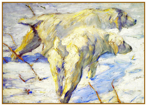 Siberian Sheep Dogs by Expressionist Artis Franz Marc Counted Cross Stitch or Counted Needlepoint Pattern