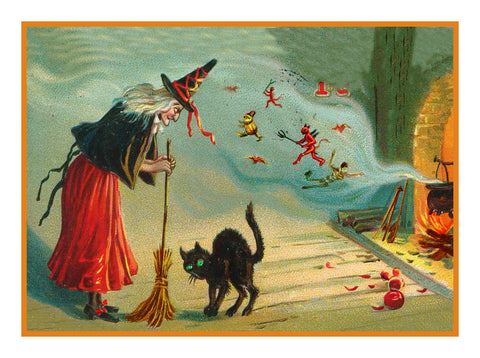 Victorian Halloween Witch, Fire, Cauldron and a Black Cat Counted Cross Stitch Pattern