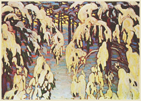 Snowy Trees by  Canadian Artist  Lawren Harris Counted Cross Stitch Pattern