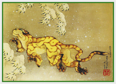 Asian Japanese Tiger in the Snow Hokusai Counted Cross Stitch Chart Pattern