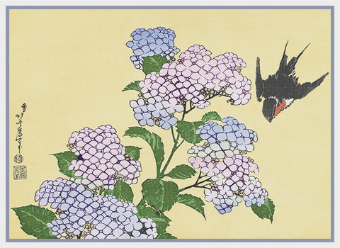 Asian Japanese Hydrangea and Swallow Hokusai Counted Cross Stitch Chart Pattern