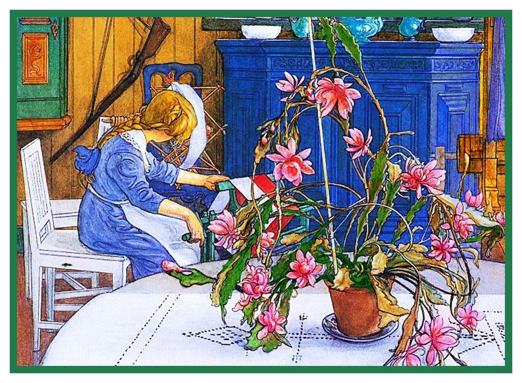 Carl Larsson Spinning Wheel Xmas Cactus Counted Cross Stitch Chart Pattern