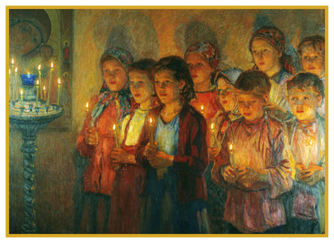 Candlelight in Church By Nikolay Bogdanov-Belsky Counted Cross Stitch Pattern