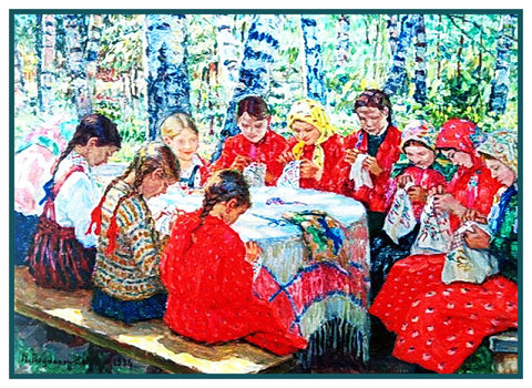 The Sewing Lesson By Nikolay Bogdanov-Belsky Counted Cross Stitch Pattern