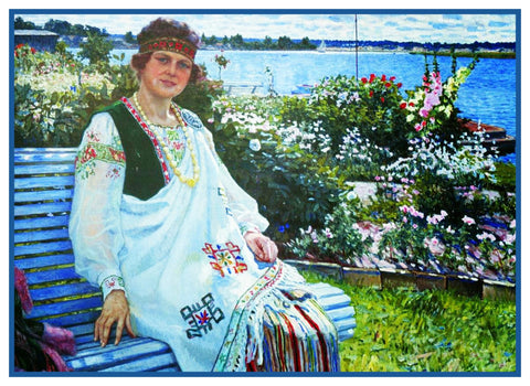 Relaxing in the Garden By Nikolay Bogdanov-Belsky Counted Cross Stitch Pattern