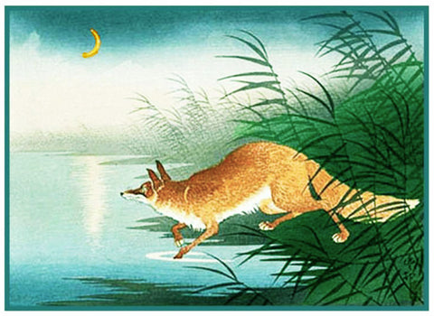 Japanese Artist Ohara Shoson's Fox In The Reeds Counted Cross Stitch Pattern