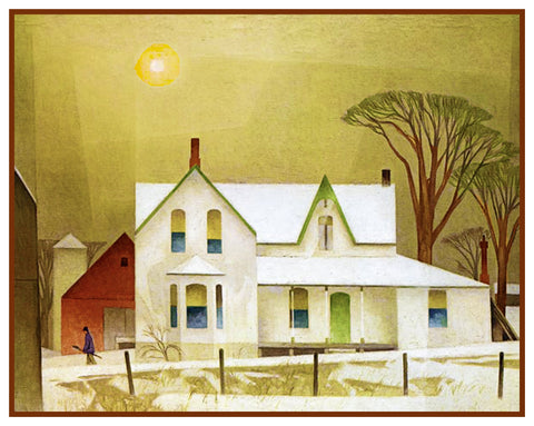 AJ Casson Winter Sun Farm House Ontario Canada Landscape Counted Cross Stitch Pattern DIGITAL DOWNLOAD