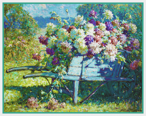 Garden Wheelbarrow Flowers By  Abbott Fuller Graves Counted Cross Stitch Pattern