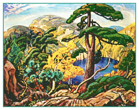Arthur Lismer Bright Land Pine Tree Canada Landscape Counted Cross Stitch or Counted Needlepoint Pattern