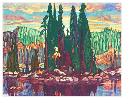 Arthur Lismer Isle of Spruce Trees Canada Landscape Counted Cross Stitch Pattern