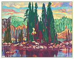Arthur Lismer Isle of Spruce Trees Canada Landscape Counted Cross Stitch or Counted Needlepoint Pattern - Orenco Originals LLC