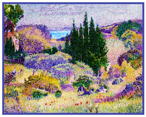 Henri-Edmond Cross Cypress Trees in April  Orenco Originals Counted Cross Stitch Pattern