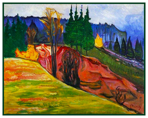 A Norwegian View Landscape by Symbolist Artist Edvard Munch Counted Cross Stitch or Counted Needlepoint Pattern