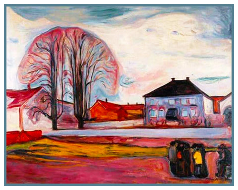 House in Norway Landscape by Symbolist Artist Edvard Munch Counted Cross Stitch Pattern