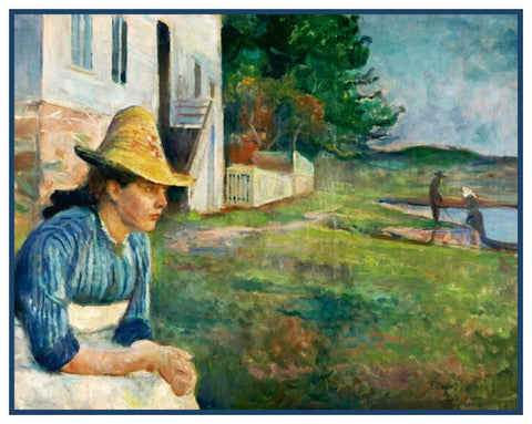 Evening Landscape by Symbolist Artist Edvard Munch Counted Cross Stitch Chart Pattern DIGITAL DOWNLOAD