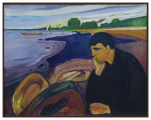 Melancholy Man at The Shore by Symbolist Artist Edvard Munch Counted Cross Stitch Chart Pattern DIGITAL DOWNLOAD