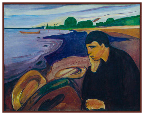 Melancholy Man at The Shore by Symbolist Artist Edvard Munch Counted Cross Stitch Pattern