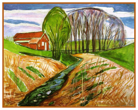 Red House in Spring by Symbolist Artist Edvard Munch Counted Cross Stitch Pattern
