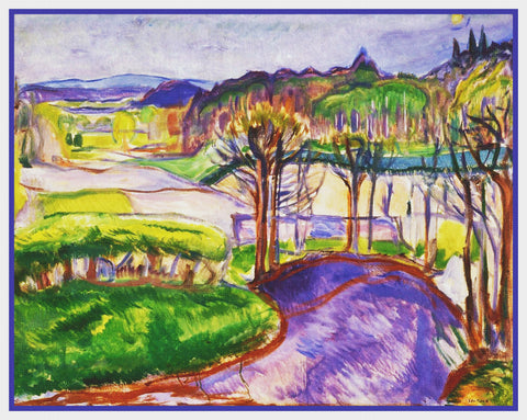 A Spring Landscape by Symbolist Artist Edvard Munch Counted Cross Stitch Pattern