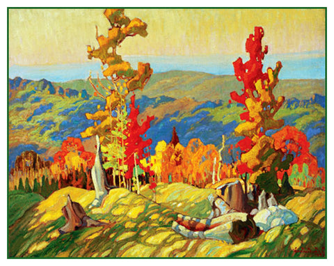 Franklin Carmichael's Autumn in the Northland Canada Landscape Counted Cross Stitch Pattern
