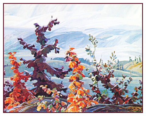 Franklin Carmichael's Scrub Oaks and Maple Trees Canada Landscape Counted Cross Stitch Pattern