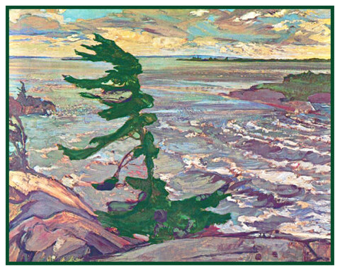 Frederick Varley's Stormy Weather on Georgian Bay Canada Landscape Counted Cross Stitch Pattern
