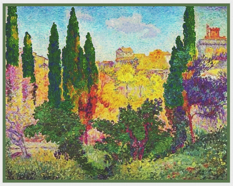 Henri-Edmond Cross Cypress at Cagnes France Orenco Originals Counted Cross Stitch Pattern