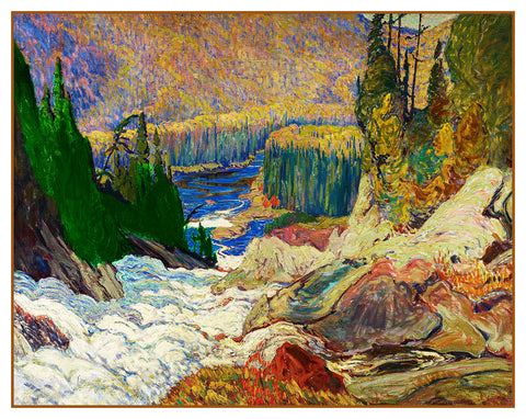 James MacDonald's Water Falls on Montreal River Ontario Canada Landscape Counted Cross Stitch or Counted Needlepoint Pattern