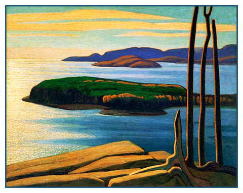 Lawren Harris's Afternoon Sun Lake Superior Ontario Canada Landscape Counted Cross Stitch Pattern