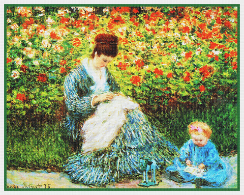 Camille and Jean in the Garden inspired by Claude Monet's impressionist painting Counted Cross Stitch Pattern