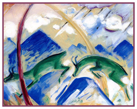 Goats in the Mountains by Expressionist Artis Franz Marc Counted Cross Stitch or Counted Needlepoint Pattern
