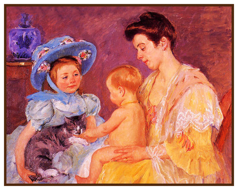 Children Playing with Kitty Cat by American impressionist artist Mary Cassatt Counted Cross Stitch Pattern