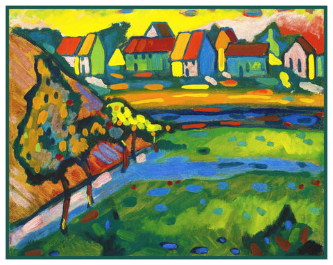 A Bavarian City by Artist Wassily Kandinsky Counted Cross Stitch Pattern