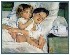 Breakfast in Bed by American impressionist artist Mary Cassatt Counted Cross Stitch or Counted Needlepoint Pattern
