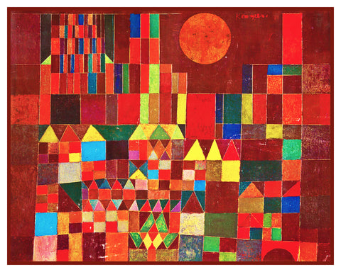 The Castle and Sun by Expressionist Artist Paul Klee Counted Cross Stitch or Counted Needlepoint Pattern