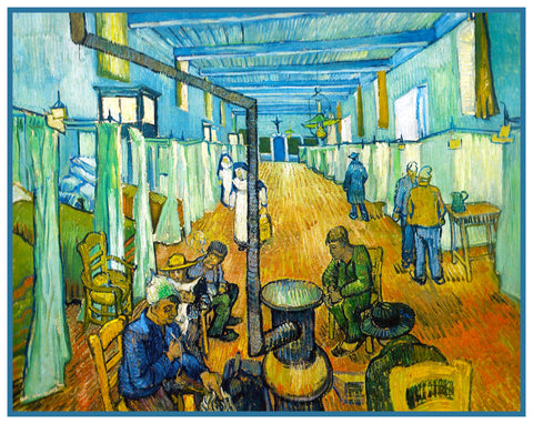 Interior of Hospital Arles France by Vincent Van Gogh Counted Cross Stitch Pattern