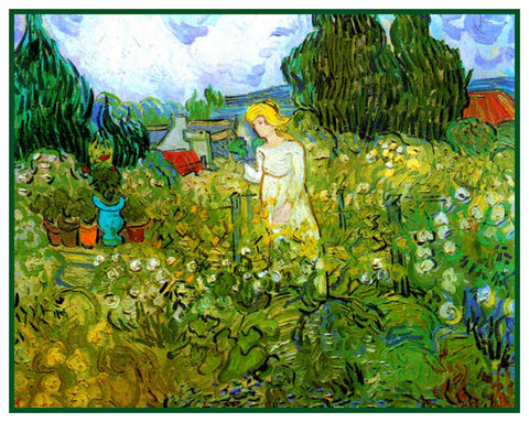 Marguerite Gachet in the Garden by Vincent Van Gogh Counted Cross Stitch or Counted Needlepoint Pattern
