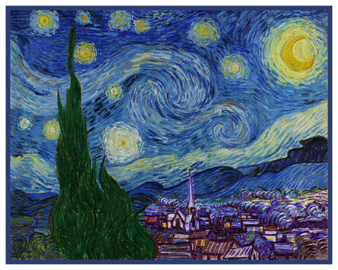 Starry Starry Night inspired by Impressionist Vincent Van Gogh's Painting Counted Cross Stitch Pattern