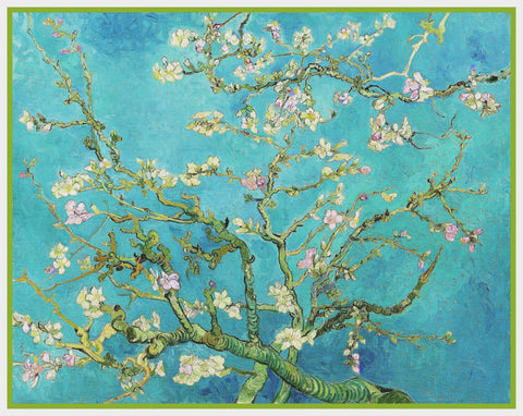 Almond Branches on Teal Blue Background by Vincent Van Gogh Counted Cross Stitch Pattern DIGITAL DOWNLOAD
