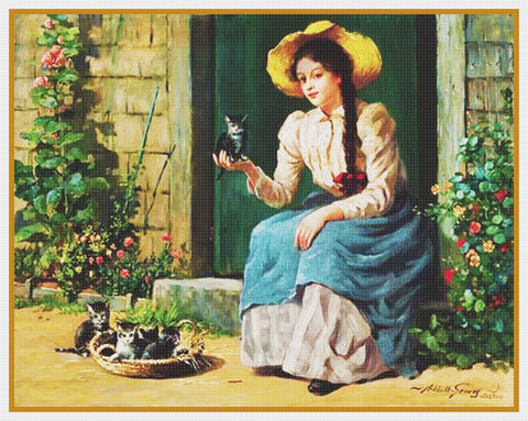 Girl with Basket Kittens  By  Abbott Fuller Graves Counted Cross Stitch Pattern